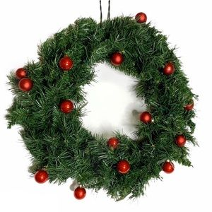 Evergreen Christmas Wreath w/ Red Glass Ornaments